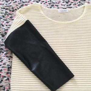 Calvin Klein Sweater with Pleather Arms